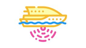 ship with seabed sonar color icon animation