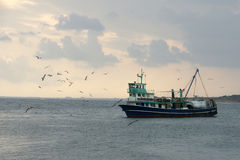 Ship and seagulls  - 1. Fishing boat and seagulls off the coast of the Black Sea in Bulgaria Stock Photography