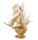 Ship of seashells on a white background Royalty Free Stock Photography