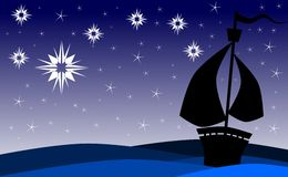 Ship on sea at night with stars. Image representing a ship that sails the seas in the night, guided by a star Royalty Free Stock Images