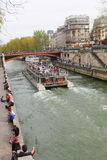 Ship on Seine river, Paris. Stock Image