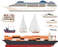 Ship set illustrations Stock Images