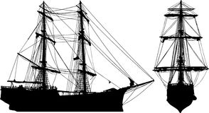 Ship-Shape. An old pirate-style ship isolated on white in both front view and profile view. EPS, AI and Jpeg Stock Photo