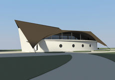 Ship shaped restaurant royalty free illustration