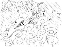 Ship and shark stock photo