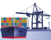 Ship with shipping container Royalty Free Stock Photo