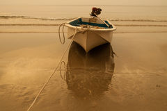 Ship. S bind to the sea beach in the evening Royalty Free Stock Photo