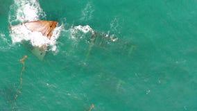 Ship Shipwreck in caribbean sea near Punta Cana beach, Dominican Republic.  stock video footage