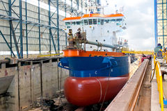 Ship in  shipyard Royalty Free Stock Photography