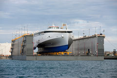 Ship in a shipyard Stock Images