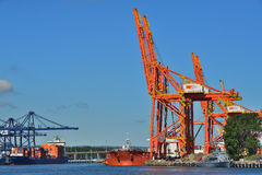 Cargo ships in a Harbor Stock Photography