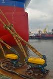 Ship in a Shipyard. Ship being modernized in Remontowa Shipyard in Gdansk, Poland Stock Photos