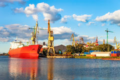 Ship in shipyard Stock Images