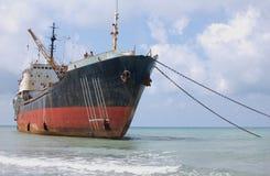 Ship on the shoal stock photos