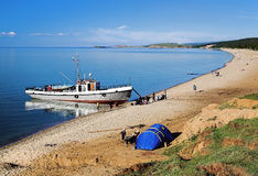 Ship at the shore of Olkhon, Lake Baikal Royalty Free Stock Images