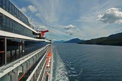 Ship Side View. Cruise ship Port view, Inside Passage to Alaska Stock Photos