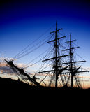 Ship Silhouette. Silhouette of a Traditional Style Sail Boat stock photography