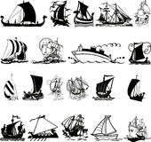 Ship silhouette 3 (+ ). Vector illustration collection of Ship silhouettes Royalty Free Stock Images
