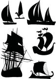 Ship silhouette collection Royalty Free Stock Photos