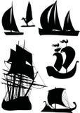 Ship silhouette collection Royalty Free Stock Photos