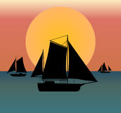 Ship silhouette in the sea. At sunset - vector illustration well layered, fully editable, you can change form and color Stock Photo