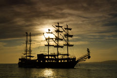 Ship silhouette at sunset Royalty Free Stock Image
