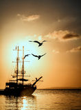 Ship silhouette at sunset Royalty Free Stock Photo