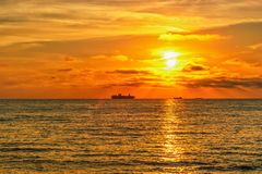 Ship silhouettes in the Baltic sea during a beautiful sunset Royalty Free Stock Photo
