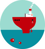 Ship simple flat vector illustration Stock Photo