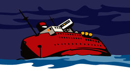 Ship sinking. Vector art of a Ship sinking in the night stock illustration