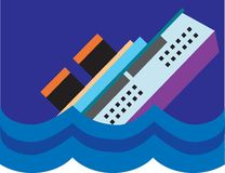 Ship Sinking. A ship is slowing sinking into the sea royalty free illustration