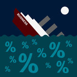 The ship is sinking on the sea of debt and loans Royalty Free Stock Image