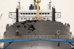 Ship in drydock. A ship situated in a dockyard, Shanghai, China Stock Photo
