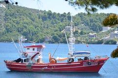 Ship in the Skiathos Greek Port Stock Photo