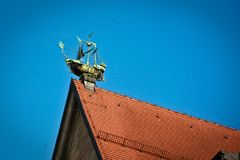 Ship in the skies. Ship on the one of the roofs in centre of Munich, Germany Stock Photography