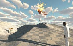Ship in sky drops anchor Stock Photo