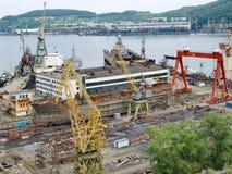 Ship on slipway. Nakhodka Shipyard Stock Photos