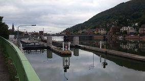 Ship sluice. The ship sluice from Heidelberg with ah big ship at the left side Stock Image