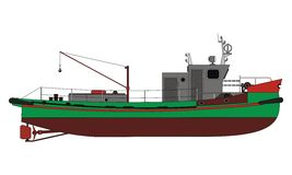 Ship. Small commercial fishing boat. Vector format stock illustration