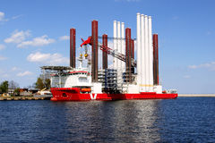 Ship specialist. Mpi dedicated ship Discovery is used to putting up wind farms at sea Royalty Free Stock Images