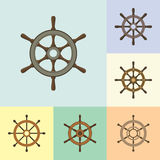 Ship Steering Helm Flat Icons Set Royalty Free Stock Photos