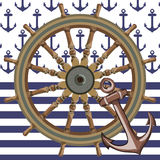 Ship steering wheal background Stock Photography