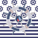 Ship steering wheal background Royalty Free Stock Images