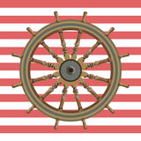 Ship steering wheal nautical background Stock Photos