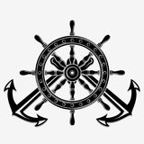 Ship Steering Wheel and Crossed nautical anchors. Vector illustration. vector illustration