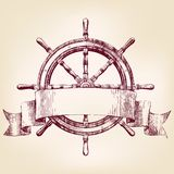 Ship steering wheel  drawing vector illustration Royalty Free Stock Photo