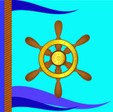 Ship steering wheel and flags Royalty Free Stock Photography