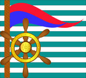 Ship steering wheel and flags Royalty Free Stock Photo