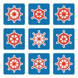 Ship steering wheel icon set on blue backgrounds Stock Photography