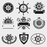 Ship steering wheel label and element set. Vector Stock Images